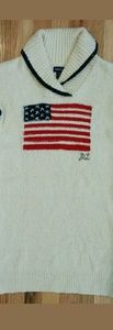 Ralph Lauren Girls Logo USA Flag Cream Dress
